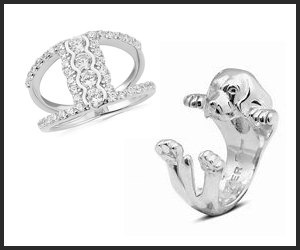 Dog and diamond rings