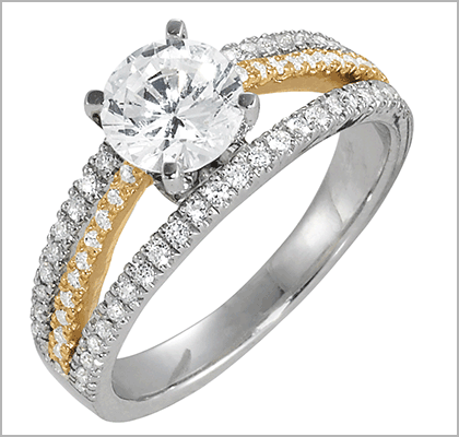 Silver and Gold Diamond Engagement Ring
