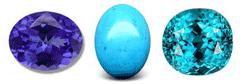 December birthstones are Tanzanite, Turquoise and Zircon