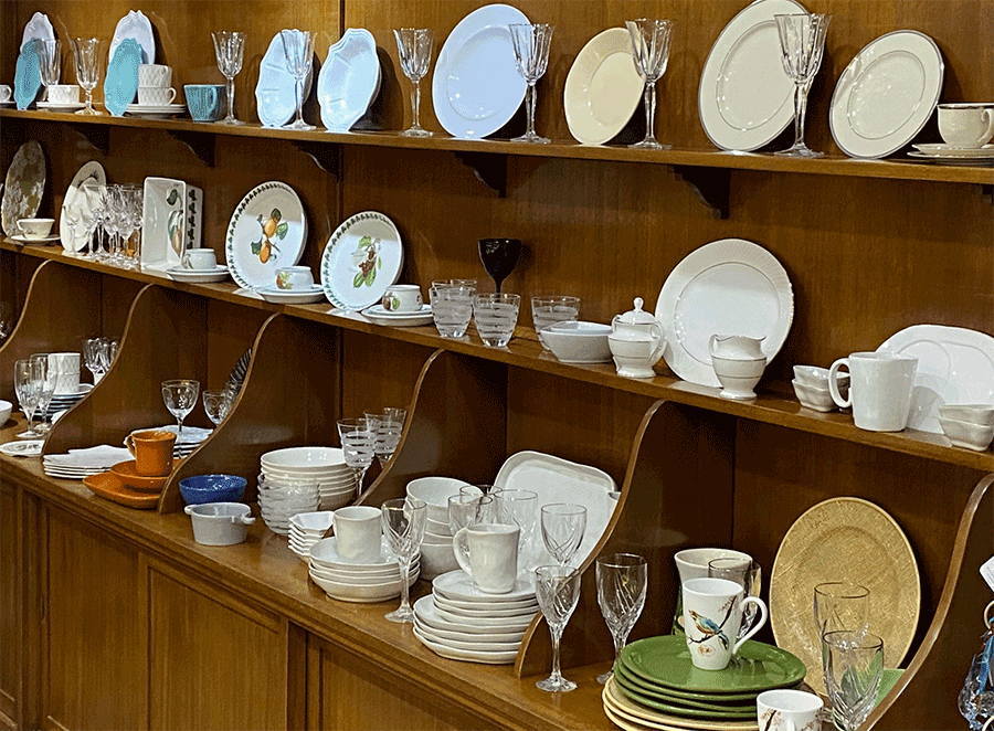 Many sets of china